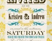 Vintage Wedding Invitation Save the Date Custom Photo Wedding Thank You Note Vintage Paper Mint Gold Pattern DIY