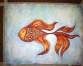 Illustration original hand painted acrylic medium on canvas paper