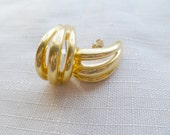 ANNIVERSARY SALE...55% Off Vintage Gold toned Semi-Circle Hoop Earrings, Featured on Etsy's Front Page