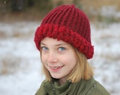 CLEARANCE SALE...60% Off Thick, fuzzy brimmed, burgundy girls knit hat, child, adoption fundraiser