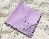 Vintage Ladies Lavender Hanky with Embroidered Butterflies