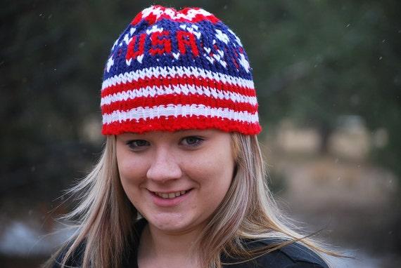 Patriotic Knit Beanie for men, women, teens...US Olympic Team Spirit