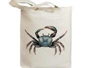 Retro Blue Crab Vintage Eco Friendly Canvas Tote Bag (ids004)