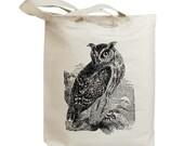Retro Horned Owl Eco Friendly Canvas Tote Bag (id6301)