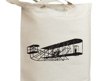 Retro Vintage Airplane Eco Friendly Tote Bag (no. id0011)