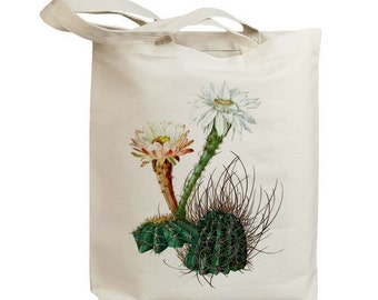 Retro Cactus Flower 08  Eco Friendly Canvas Tote Bag (id6607)