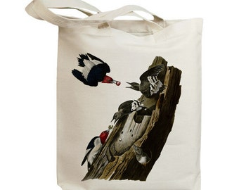 Red Headed Woodpecker Eco Friendly Canvas Tote Bag (id7017)