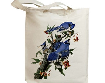Blue Jay Birds Eco Friendly Canvas Tote Bag (id7021)