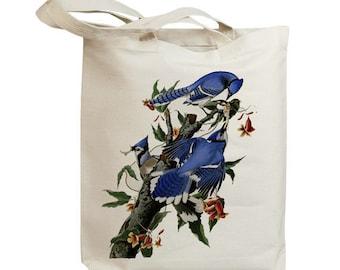 Blue Jay Birds Eco Friendly Canvas Tote Bag (id7021)