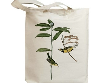 Hooded Warbler Birds Eco Friendly Canvas Tote Bag (id7027)