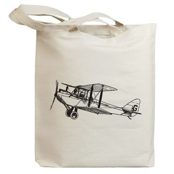 Retro Propeller Airplane Dual Wing Eco Friendly Tote Bag (id0006)