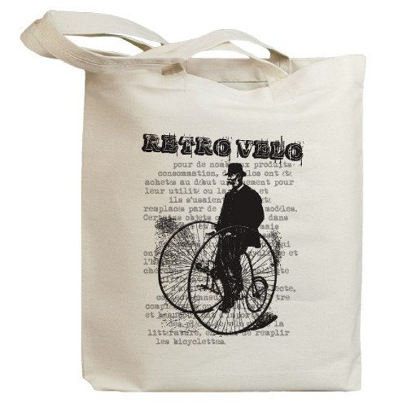 Retro Bicycle Man Eco Friendly Tote Bag (no. id0012)