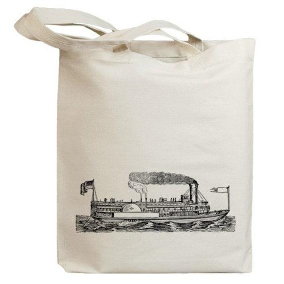 Retro Steamboat Eco Friendly Canvas Tote Bag (id0051)