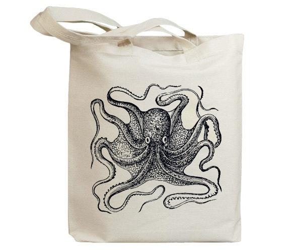 Retro Octopus Looking Eco Friendly Canvas Tote Bag (id6400)