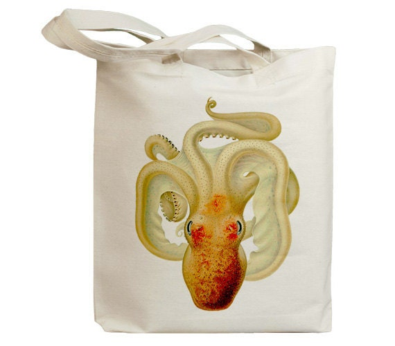 Retro Orange Octopus 02 Eco Friendly Canvas Tote Bag (id6409)