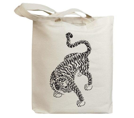 Korea Asia Vintage Tiger 01 Eco Friendly Canvas Tote Bag (id6510)