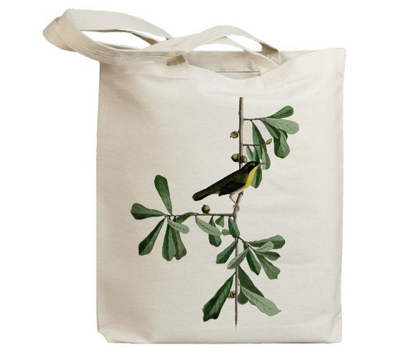 Roscoes Yellow Throat Bird Eco Friendly Canvas Tote Bag (id7014)