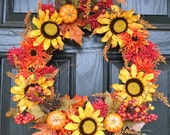 """Fall Wreath with Yellow Sunflowers and  Pumpkins Yellow, Orange, Red 20"""""""