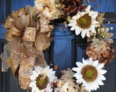 Fall Wreath Autumn Wreath Thanksgiving Wreath Cream Sunflowers Peonies and Hydrangeas 20 inch