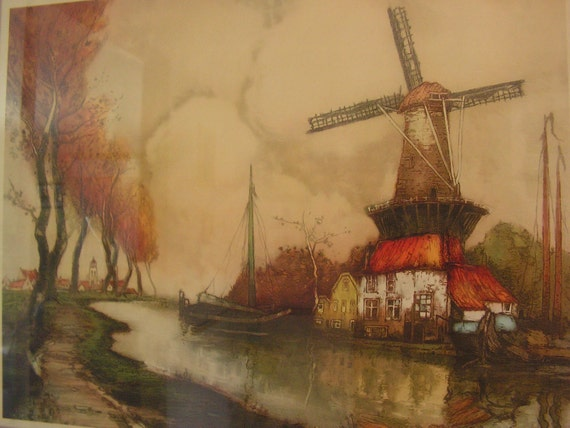 Vintage 20s Print The River In Flanders Of An