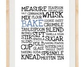 Word Poster - Bake - 8.5x11 and 8x10 Print - Digital Illustration Poster - Kitchen Art