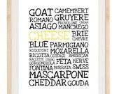 Typography Illustration - Cheese - 8.5x11 Print - Digital Illustration Poster - Kitchen Art