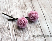 Rose Cabochon Bobby Pin in Lilac