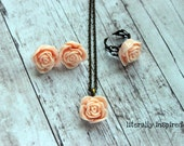 Victorian Rose Cabochon Jewelry Set