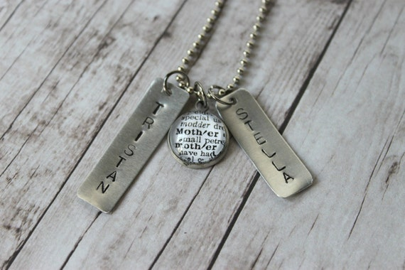Mother Charm Necklace and Hand Stamped Names