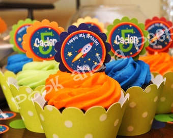 Personalized Outer Space Rocket Ship Birthday Cupcake Toppers - Baby Shower Customizable