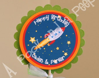 Personalized Outer Space Rocket Ship Centerpiece Cake Topper - Birthday Parties and Baby Showers