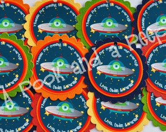 Personalized Outer Space UFO Alien flying saucer Favor Tags Birthday Shower Decoration