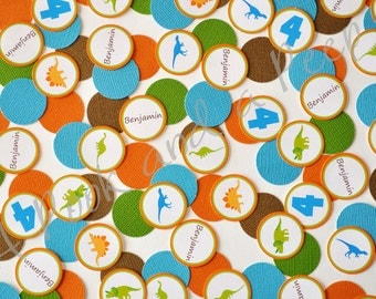 Dinosaur Personalized Custom Confetti in Blue Orange Green and Brown Birthday and Baby Shower Decoration