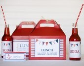 15  Red Kraft Gable Boxes 8 x 4 7/8 x 5 1/4- party boxed lunch
