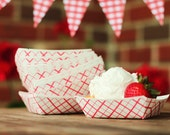 Set 20 Mini Retro Red and White Plaid Food Trays GREAT for desserts, salads, chips, sides, BBQ