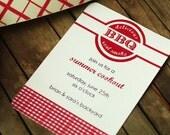 15 Personalized Invitations Summer BBQ Invitations Retro red gingham