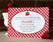 12 Gingham Strawberry Party Invitations- PRINTED with envelopes