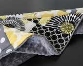 Yellow and Grey Baby Blanket, Patchwork Grey Minky Quilt