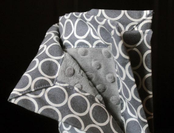 Baby Blanket - Gray and White Metro Living Circles Minky Blanket