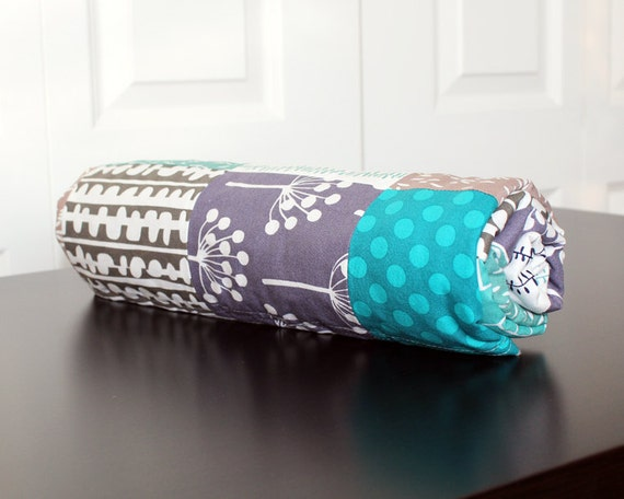 RESERVED FOR LINDSAY - Baby Blanket Grey and Turquoise, Patchwork Baby Quilt with Charcoal Minky