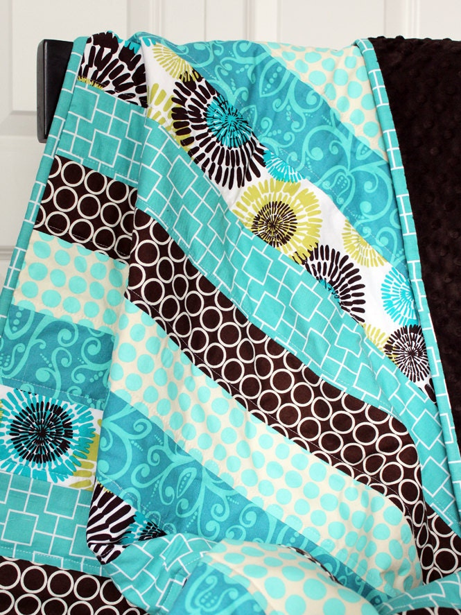 Sale Baby Quilt Turquoise And Brown Striped Minky Quilt