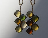 Tourmaline Earrings : Fall Autumn Colors, Green and Gold Gemstone Earrings