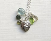 Sterling Silver Heart Necklace : Gemstone Charm Necklace, Heart Jewelry, Unique Artisan Jewelry, Natural Stone Jewelry, Graduation Gift