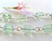 Pastel Green Bracelet : Watercolor Jewelry, Delicate Bracelet, Natural Stone Bracelet, Mint Green Sterling Silver Bracelet