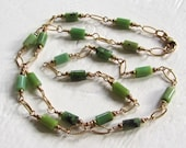 Classic Green and Gold Layering Necklace : Chrysoprase Strand Necklace, Gold Necklace, Simple Necklace, Natural Stone Jewelry