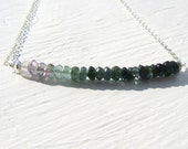 Blue Green Tourmaline Necklace : Tourmaline Jewelry, Ombre Jewelry, Spring Jewelry, Natural Jewelry, Organic Jewelry, Birthstone Jewelry