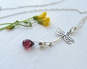 Dragonfly Garnet Necklace : Garnet Jewelry, January Birthstone Pendant, Sterling Silver Lariat Necklace, Customized