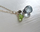 Delicate Blue Crystal and Peridot Necklace : Peridot Jewelry, August Birthstone Necklace, Simple Necklace, Blue Green Pendant Necklace
