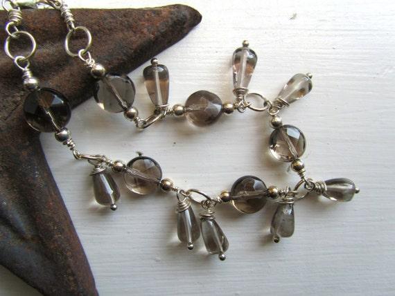 Smoky Quartz Cocktail Bracelet : Womens Accessories, Unique Jewelry, Sterling Silver Bracelet, Smokey Quartz Jewelry, Under 30