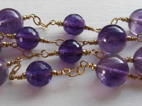 Violet Amethyst Long Necklace : Amethyst Jewelry, Long Gold Necklace, Purple Jewelry, Opera Length Amethyst Necklace